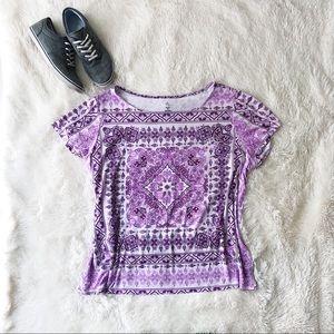 Dress Barn Woman lilac boho print tee shirt